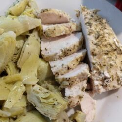 Marinated Chicken with Artichoke hearts in a Lemon Pepper sauce