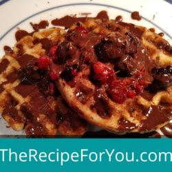 Best Banana Cinnamon Waffles with drizzled dark chocolate